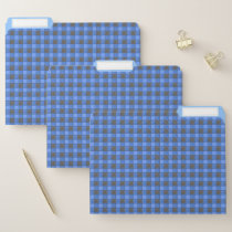 Blue and Black Watercolor Plaid Check Folders