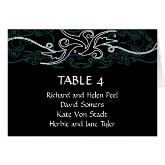 Blue and black wedding seating chart card
