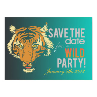 """Blue and Black Wild Party 5"""" X 7"""" Invitation Card"""