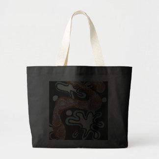 blue and black with stringy  large tote bag