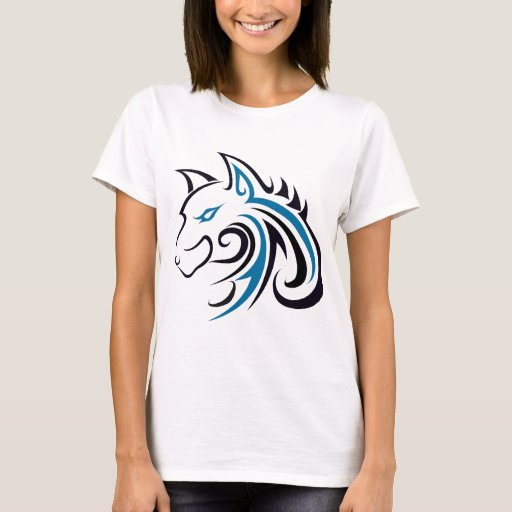 Blue and Black Wolf Head Outline T-Shirt