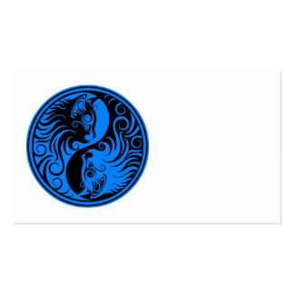 Blue and Black Yin Yang Cats Business Card