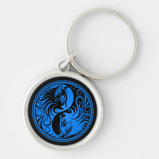 Blue and Black Yin Yang Cats Silver-Colored Round Keychain