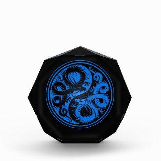 Blue and Black Yin Yang Chinese Dragons Award