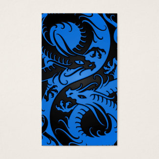 Blue and Black Yin Yang Chinese Dragons Business Card