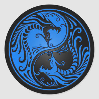 Blue and Black Yin Yang Dragons Classic Round Sticker