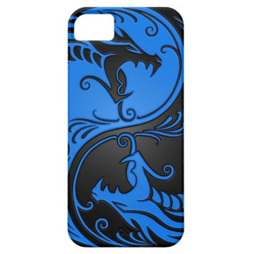 Blue and Black Yin Yang Dragons iPhone 5 Case