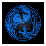 Blue and Black Yin Yang Dragons Poster