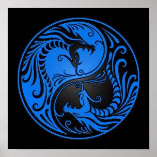 Blue and Black Yin Yang Dragons Poster