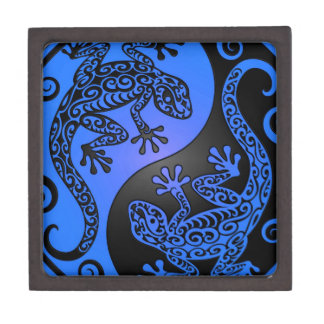 Blue and Black Yin Yang Geckos Keepsake Box