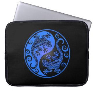 Blue and Black Yin Yang Geckos Laptop Computer Sleeves