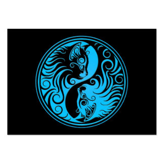 Blue and Black Yin Yang Kittens Business Card Template
