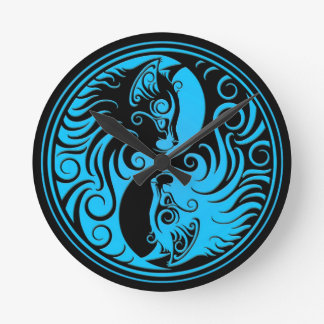 Blue and Black Yin Yang Kittens Round Clock