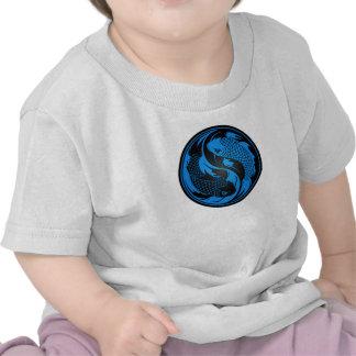 Blue and Black Yin Yang Koi Fish Tshirts