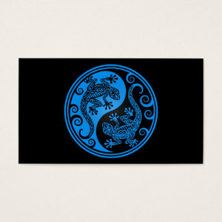 Blue and Black Yin Yang Lizards Business Card