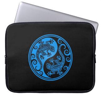 Blue and Black Yin Yang Lizards Computer Sleeve