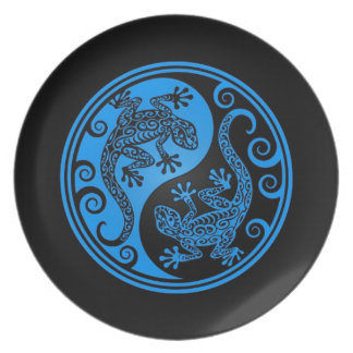 Blue and Black Yin Yang Lizards Party Plates