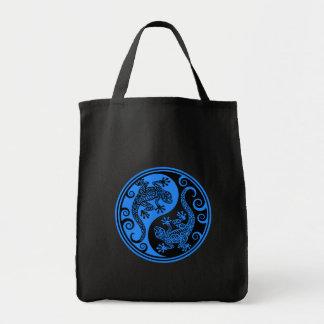 Blue and Black Yin Yang Lizards Tote Bag