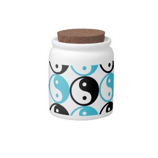Blue and black yin yang pattern candy jar