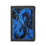 Blue and Black Yin Yang Phoenix Tri-fold Wallets