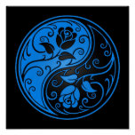 Blue and Black Yin Yang Roses Posters