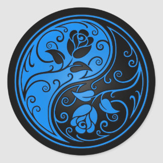 Blue and Black Yin Yang Roses Classic Round Sticker