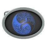 Blue and Black Yin Yang Tree Oval Belt Buckle