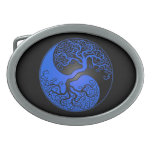 Blue and Black Yin Yang Tree Oval Belt Buckles