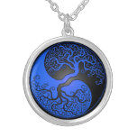 Blue and Black Yin Yang Tree Pendant