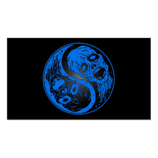 Blue and Black Yin Yang Zombies Business Card Templates