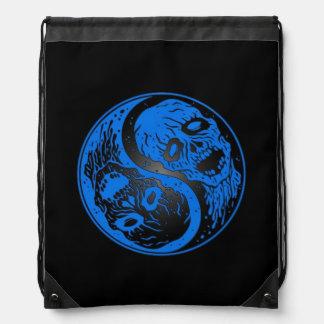 Blue and Black Yin Yang Zombies Drawstring Bag