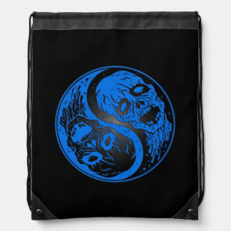 Blue and Black Yin Yang Zombies Cinch Bag