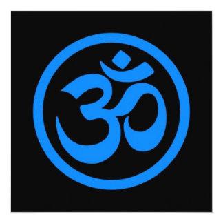 Blue and Black Yoga Om Circle 5.25x5.25 Square Paper Invitation Card