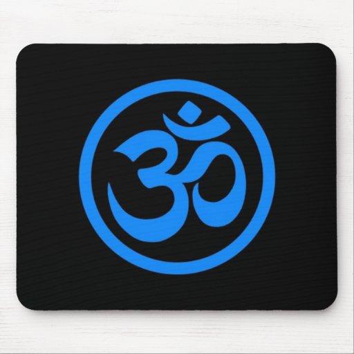 Blue and Black Yoga Om Circle Mousepads