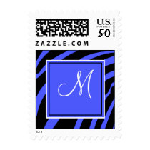 Blue and Black Zebra Print Monogram Postage