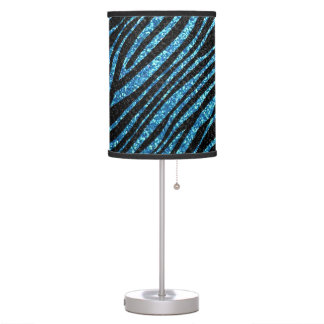 Blue and Black Zebra stripe pattern Desk Lamp