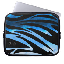 Blue And Black Zebra Striped Pattern Laptop Sleeve