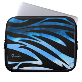 Blue And Black Zebra Striped Pattern Laptop Computer Sleeves