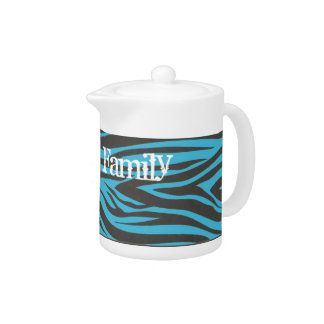 Blue and Black Zebra Striped Personalized 11oz Tea Teapot