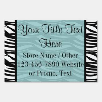 Blue and Black Zebra Stripes Boutique or Sale Sign