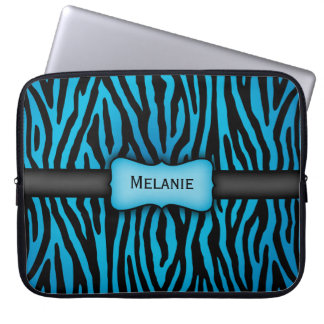 Blue and Black Zebra Stripes Laptop Sleeve