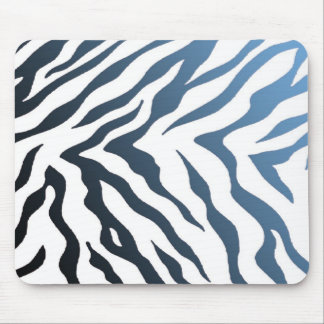 Blue and Black Zebra Stripes Mouse Pad
