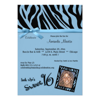 Blue And Black Zebra Stripes Sweet 16 Party Custom Invitation