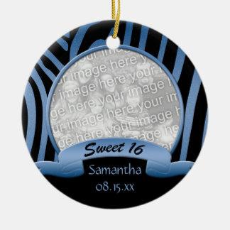 Blue and Black Zebra Sweet 16 Ornament