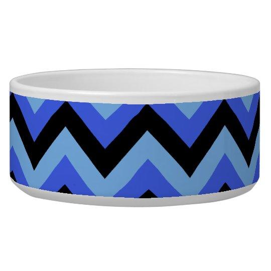Blue and Black Zig zag Stripes. Bowl