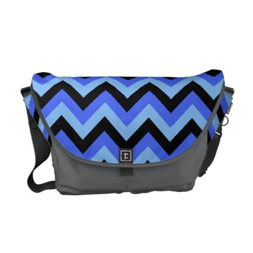 Blue and Black Zig zag Stripes. Courier Bags