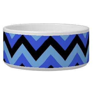 Blue and Black Zig zag Stripes. Dog Bowls