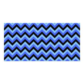 Blue and Black Zig zag Stripes. Photo Card