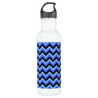 Blue and Black Zig zag Stripes. Water Bottle