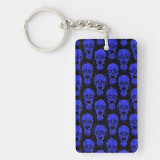 Blue and Black Zombie Apocalypse Pattern Keychain